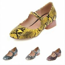Women's Square Toe 4 Colors Snakeskin Print Mary Janes Chunky Heel Shoes Pumps B