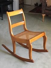 19TH CENTURY TIGER MAPLE ROCKER W/CANED SEAT