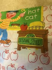 Vintage Sesame Street Bert Ernie Twin 2 Pc Sheet Set School Apples