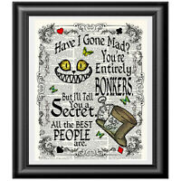 ALICE IN WONDERLAND BONKERS QUOTE WALL ART PRINT DICTIONARY PICTURE