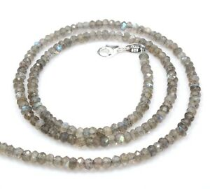 """Labradorite Necklace Sterling Silver 22"""" Beads 3.5mm Jewelry Birthday Gift Sale"""