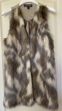 Almost Famous Women's Faux Fur Open Front Knit Back Size L Oatmeal Vest *Nwt$42