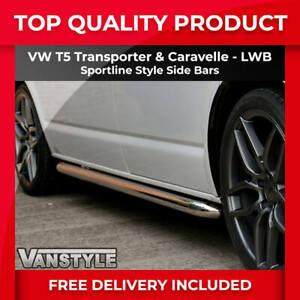 VW T5 TRANSPORTER LWB SPORTLINE SIDE BARS OEM QUALITY 60MM STAINLESS VAN STEPS