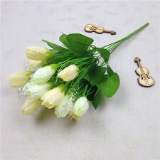 1 Bouquet 15 Heads Tulip Artificial Flower Faux Silk+Plastic Wedding Home Decor