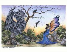 "Amy Brown Fairy Faery Print Stone Guardian Gargoyle Crow Blue Orange 8.5x11"""