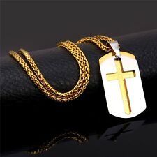 Cross Necklace Pendant Dog Tags Bible Lords Prayer 18K Gold Plated Jewelry 35g