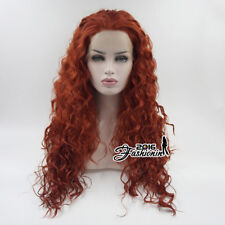 24 inches Anime Cosplay Hitzefest rougeâtre orange avec capuchon Kinky Lace Front Wig