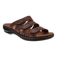 Clarks Women Slide Sandals Leisa Cacti Triple Strap Leather