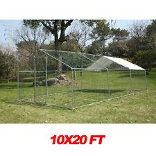 Large Metal Walk In Rabbit Hutch Chicken Cage Coop Backyard Hen House Enclosure