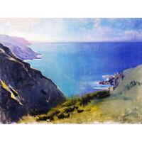 Thayer Cornish Headlands Ocean Landscape Painting Canvas Art Print Poster