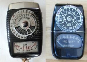 Lot of 2 Vintage Light Meters, GE 8DW58Y4 & Dejur 12231