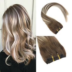 Sunny Balayage Brown mix Blonde Clip in Hair Extensions Real Human Hair #6/60/6