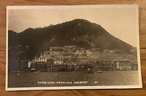 Hong Kong 1928 RPPC Real Photo Postcard View From the Harbour