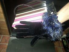 Stile VINTAGE OCCASIONE nero in finta Velluto Stretch guanti con polso in finta piuma