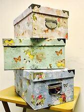 SET OF 3 VINTAGE FLORAL JEWELLERY STORAGE BOXES HAMPER W METAL HANDLES