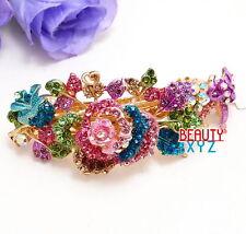 Multi-color Rhinestone Crystal Silver Tone Metal flower hair claw clip Barrette