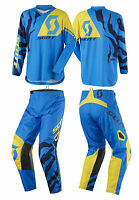 TUTA MAGLIA PANTALONI CROSS ENDURO SCOTT 350 RACE BLU GIALLO YELLOW 36(52) XL