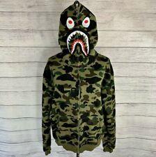 BAPE / A Bathing Ape 1st Green Camo Shark Full Zip Hoodie AUTHENTIC Size Medium