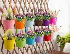 10 Piece Metal Iron Hanging Flower Pots,Detachable Hook(Multicolor (3.9'')