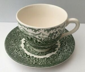 Green & White Tea Cup & Saucer. Made by English Ironstone Tableware.
