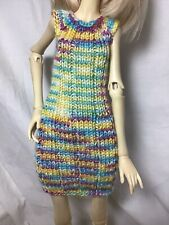 Bjd-Msd 1/4~Knitted Variegated Pastel Yellow, Rose & Turquoise~Never Used!