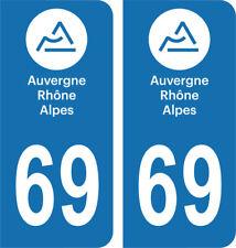 Département 69 - 2 autocollants style immatriculation AUTO PLAQUE AUVERGNE 2018