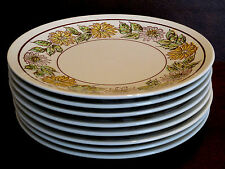 Set of 8 Ceramic Floral Pattern  Lunch plates - USA, White