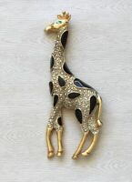 Vintage large Giraffe  Brooch Pin gold  Tone Metal