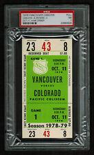 PSA 7 COLORADO ROCKIES 1978 Unused NHL Hockey Ticket at Pacific Coliseum