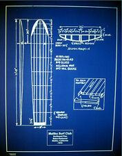 "Vintage Malibu Surfing Club 1932 Surfboard Blueprint Plan 20""x24""  (072)"