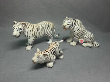 RARE! 3 PCS Retired Schleich White Tiger Family Animal Model With Tag Figure
