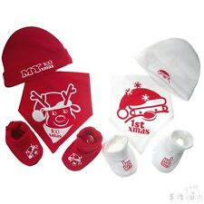 BABY BOYS GIRLS 3 PIECE BANDANA BIB HAT & BOOTEE SET - MY 1ST CHRISTMAS