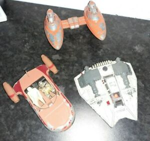 Vintage Star Wars Die Cast Ship Lot x 3 Snowspeeder, Twin Cloud Car, Landspeeder