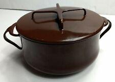 """Vintage Dansk Kobenstyle 7 1/4"""" Covered Enamel Cookware Pot Pan w/ Lid Brown 2Qt"""