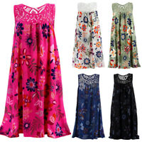 Womens Summer Sleeveless Floral Midi Dress Cocktail Party Beach Loose Sundress
