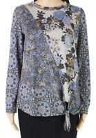 One World Womens Top Blue Multi Size Large PL Petite Floral Tie-Hem $44 125