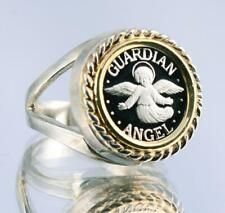 .999 PURE SILVER Guardian Angel Coin in Two-Tone S/S + 14kt Gold Ring sizes 5-8