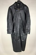 Geronimo Trench Coat Leather Duster Mens Medium Black Motorcycle Full Length