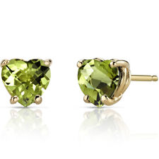 14K  14ct Yellow Gold 1.5 Ct Peridot Stud Earrings Heart Cut 6 mm