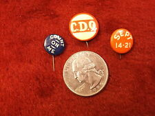 """#44 of 66, Mixed Lot Of Vtg Antique Buttons """"C.D.Q."""" """"Sept 14-21"""" """"Count On Me"""""""