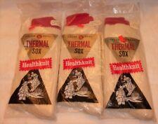 3 Pair Men's Vintage Socks ~ Healthknit Thermal Sox Sz 12-13 New In Packages!