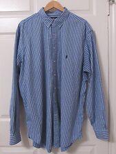 RALPH LAUREN MEN LONG SLEEVES DRESS SHIRT BLUE STRIPE