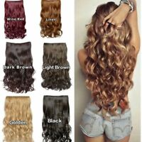 Synthetic Hair Clip In Hair Extension Curly Straight Hairpieces 3/4 Full Head