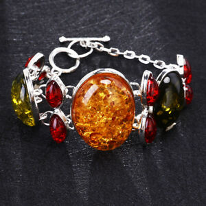 Vintage Silver Baltic Amber Bracelet Bangle Chain Jewelry Gift