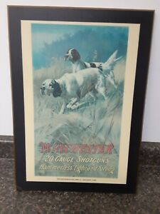 Vintage WINCHESTER 20 GAUGE SHOTGUNS Advertising Poster HUNTING DOGS Mounted