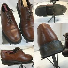 Antica Cuoieria Oxford Shoes Sz 10 Men Brown Leather Made In Italy YGI E8