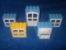 Lego Duplo Ville Puppenhaus 4 X Fenster Scheibe 1 X Tür 8er Noppen Weiß Blau