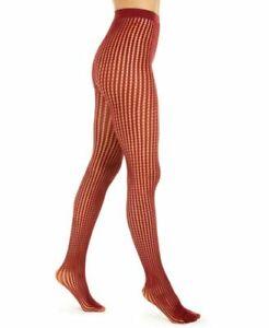 Tights DKNY Women's Vertical Stripe Net Color Crimson Size Medium/Tall