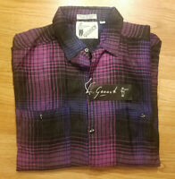 80s Vtg GOOUCH India Woven Button Front Shirt Mens M Boho Rayon Purple Check