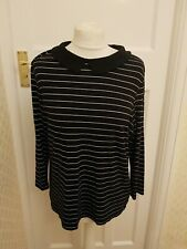 Hobbs Navy & White Striped Top Woth Collar Size Large